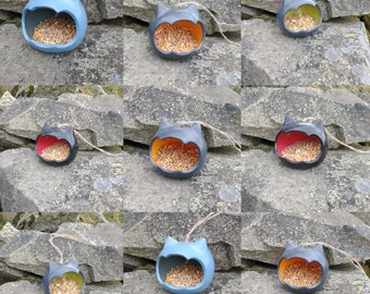 Choose Your Own Colours - Two-Tone Cat Head Ceramic Novelty Wild Bird Seed Feeder