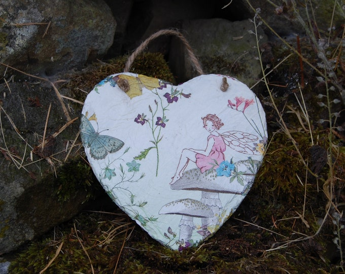 Butterfly Fairy Slate Heart Hanger - Hanging Heart  - Garden Decor - Decorative Sculpture