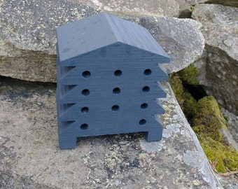 Bee House Dark Grey Gray Wooden Beehive Insect Bug Hotel Gardening Gifts - Save The Bees