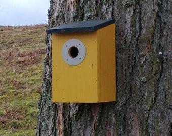 Two-Tone Mustard Yellow & Dark Slate Grey Wooden Bird House Nest Box
