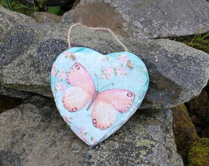 Pink Butterfly Slate Heart Hanger - Hanging Heart  - Garden Decor - Decorative Sculpture