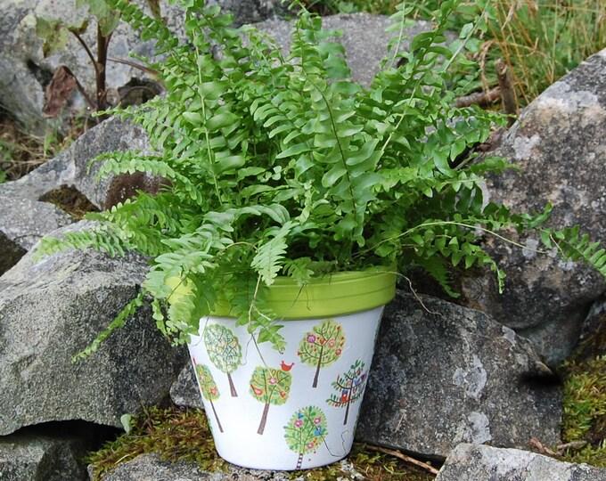Lime Green Trees, Birds, Fruit Terracotta Flower Plant Pot, Garden Gift, Housewarming, Decor, Planter, Gardener, Pots, Gardening, planting