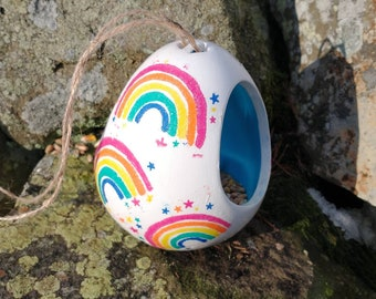 Rainbow and Stars Two Tone White and Turquoise Blue Ceramic Wild Bird Seed Feeder