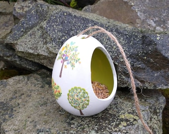Patchwork Trees Two Tone White and Lime Gree Ceramic Wild Bird Seed Feeder