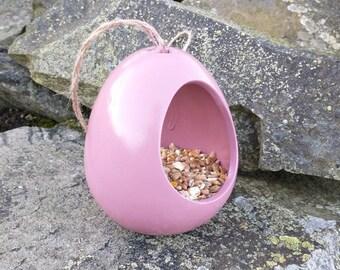 Vintage Rose Pink Ceramic Wild Bird Seed Feeder