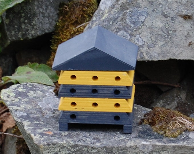 Wooden Bee Hive House - Grey Gray and Mustard Yellow Stripe - Insect House - Bug Hotel - Bee House - Gardening Gifts - Garden  - Scotland