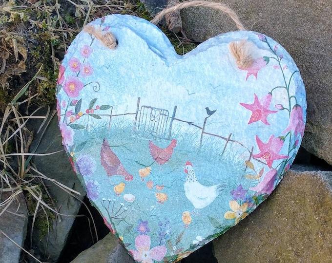 Patchwork Hens Wildflower Meadow Slate Heart Hanger - Hanging Heart  - Garden Decor - Decorative Sculpture