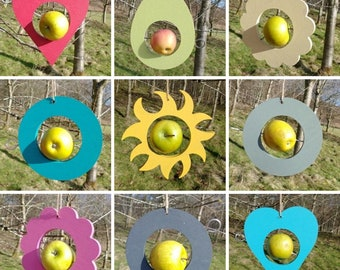 Choose Your Own Colours -  Sun, Circle, Flower, Heart, Avocado Wooden Bird Feeder - Fruit, Apple, Fat Balls, Suet