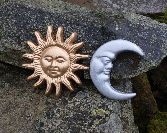 Gold and Silver Sun & Moon - Garden Gifts - Gardening Gifts - Garden Treats -