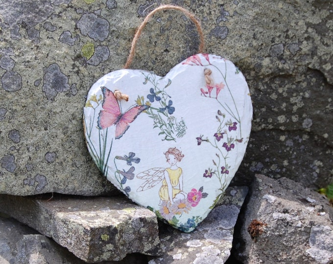 Butterfly Fairy Faery Slate Heart Hanger - Hanging Heart  - Garden Decor - Decorative Sculpture