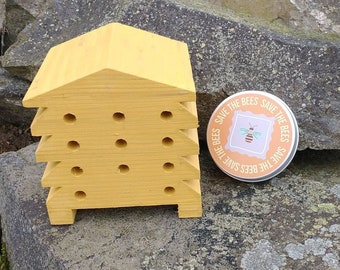 Save The Bees Gift Set - Mustard Yellow Beehive Bee Hotel Bug House and Wildflower Seed Bombs - Orange
