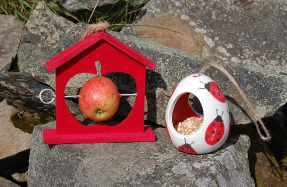 Red Ladybirds Ladybug Bird Feeder Christmas Gift Set Ceramic Wild Bird Seed Feeder & Fruit Fat Ball Feeder, garden, gardening, bundle