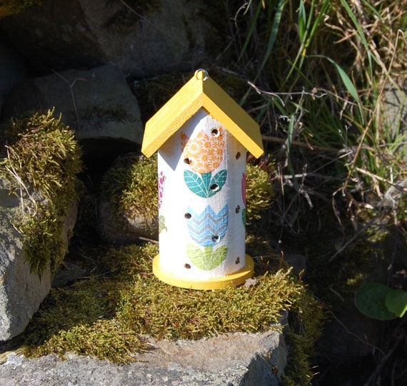 Patchwork Tulips Yellow  Wooden Ladybird House Hotel - Ladybug - Insect House -  Gardening Gifts - Scottish Gifts