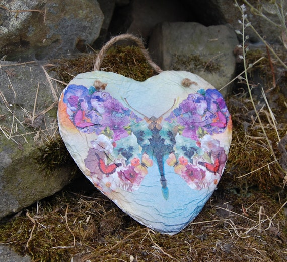 Floral Butterfly Flowers Slate Heart Hanger - Hanging Heart  - Garden Decor - Decorative Sculpture