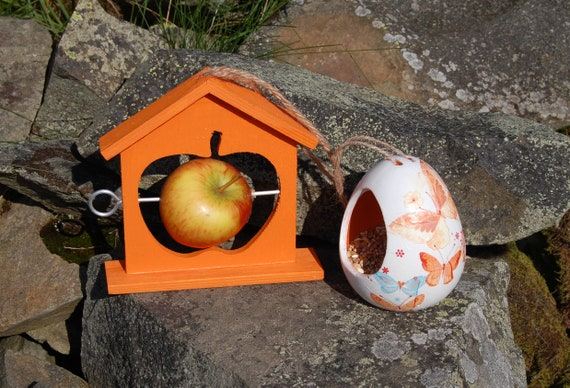 Orange Butterflies Bird Feeder Gift Set Ceramic Wild Bird Seed Feeder & Fruit Fat Ball Feeder, garden, gardening
