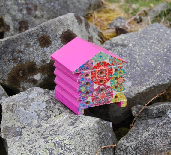 Bright Hippy Circles Mandala - Wooden Bee Hive House - Insect House - Bug Hotel - Bee House - Gardening Gifts - Garden - Scottish Gifts