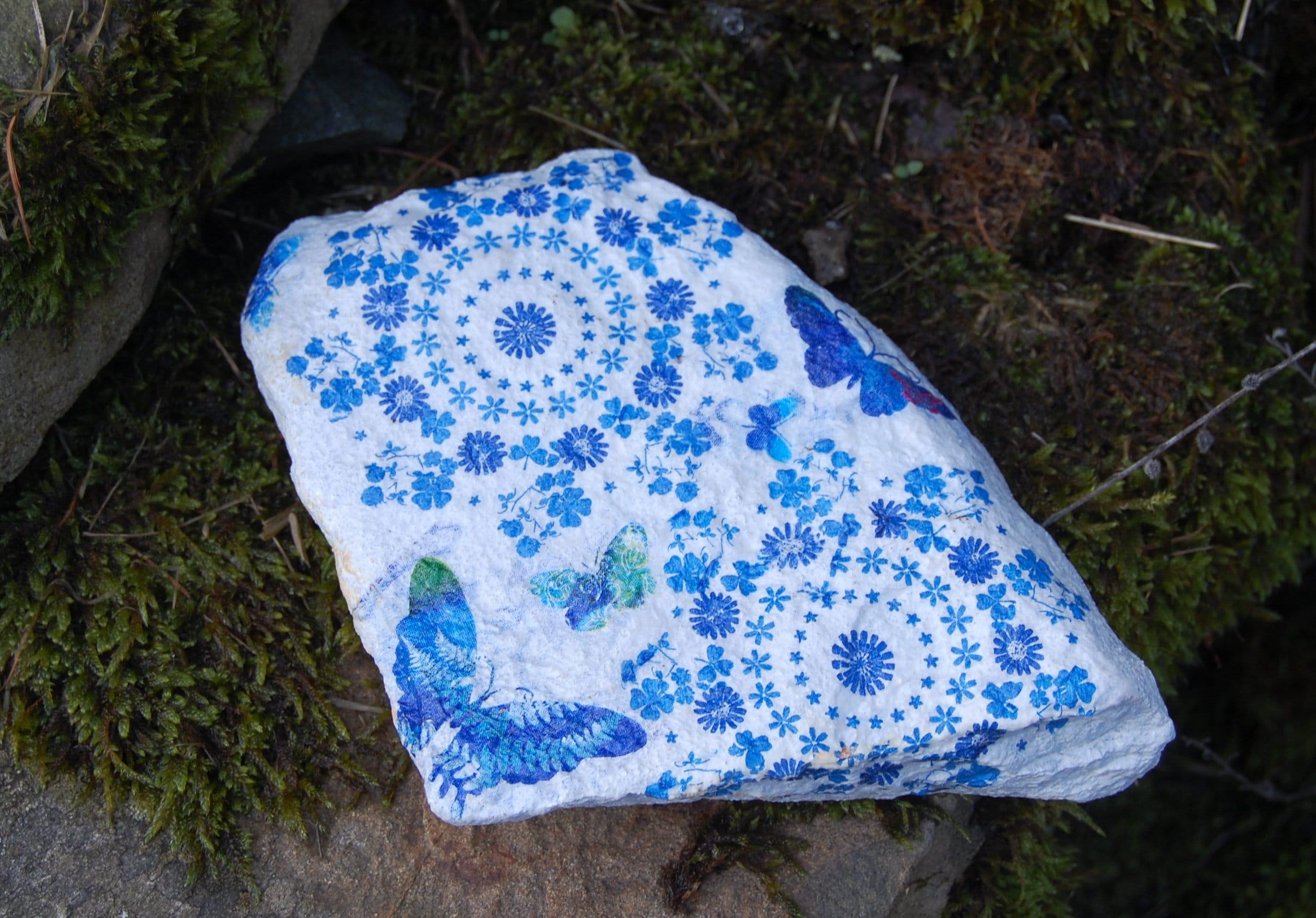 Blue Flowers Butterfly Floral Garden Art Garden Stone