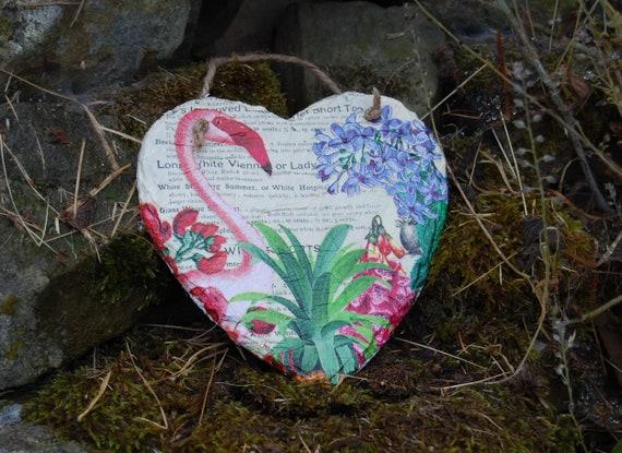 Flamingo Hyacinth Slate Heart Hanger - Hanging Heart  - Garden Decor - Decorative Sculpture