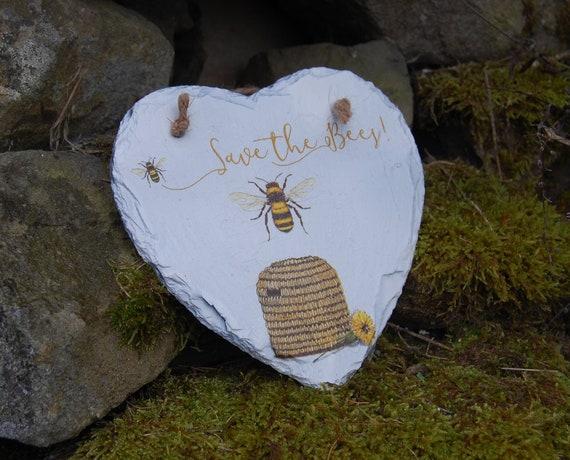 Save the Bees, Honey Bee, Bee Hive, Bumble Bee Slate Heart Hanger - Hanging Heart  - Garden Decor - Decorative Sculpture