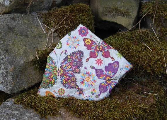 Butterfly Rainbow Butterflies Garden Art, Garden Stone, Stepping Stone, Garden Decor, Sculpture, Natural Stone, Door Stop Paperweight