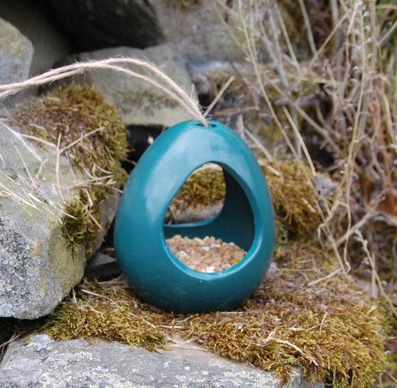 Dark Green Ceramic Wild Bird Seed Feeder  - Gardening - Scottish Gifts - Birds - Apple - Balls - Scotland - Gardener - Nature - Garden