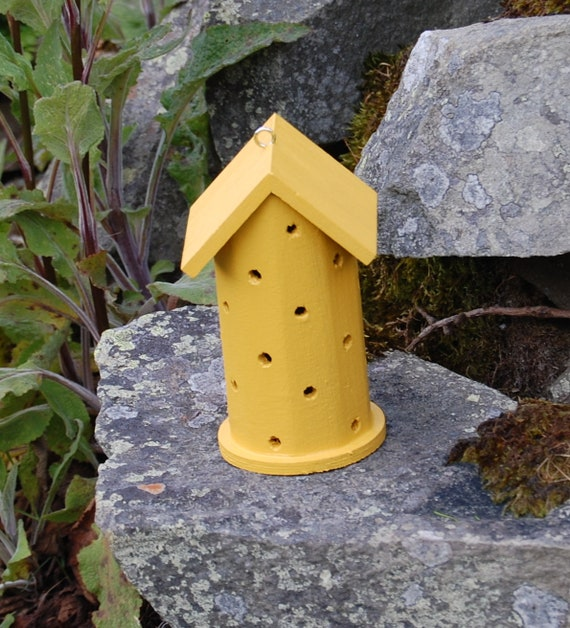 Mustard Yellow  Wooden Ladybird House Hotel - Ladybug - Insect House - Bug Hotel - Bee House - Gardening Gifts - Scottish Gifts - Scotland