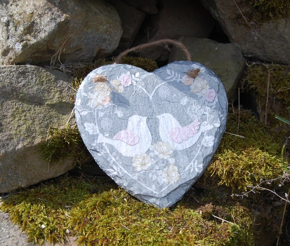 Grey and White Doves, Love Birds, Wedding Slate Heart Hanger - Hanging Heart  - Garden Decor - Decorative Sculpture, Shabby Chic