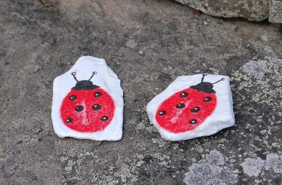 Ladybird Ladybug Plant Pot Pal Garden Art - Garden Stone - Paper Weight - Garden Decor - Decorative Sculpture