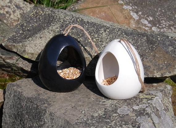 Mix and Match Bird Feeder Gift Set,  Black & White Set of 2 Ceramic Wild Bird Seed Feeders, choose your own, garden, gardening