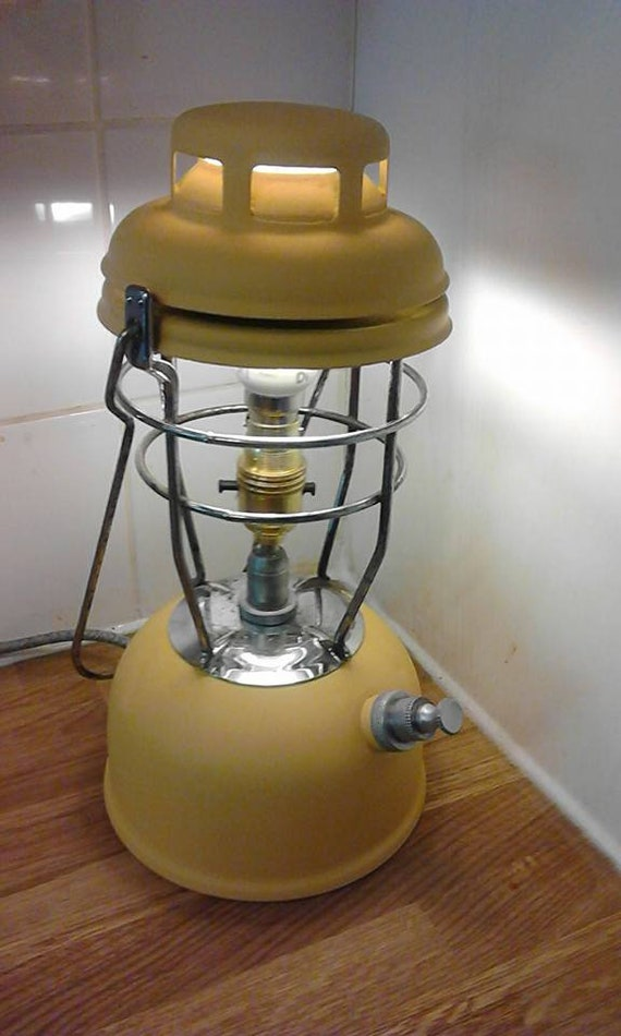 """1970's """"Tilley Lamp"""" Upcycled Table Lamp - Yellow - Table Lamp, Light,"""