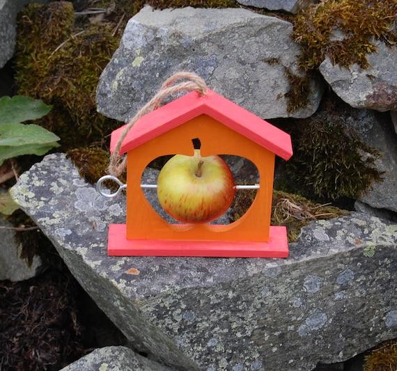Two Tone Orange Wooden Bird Feeder - Gardening Gifts - Scottish Gifts - Birds - Apple - Balls - Scotland - Gardener - Nature - Garden