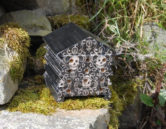 Black and White Gothic Skulls - Wooden Bee Hive House - Insect House - Bug Hotel - Bee House - Gardening Gifts - Garden - Beehive