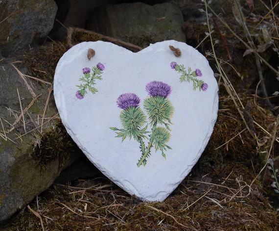 Scottish Thistle Thistles - Flower of Scotland Slate Heart Hanger - Hanging Heart  - Garden Decor - Decorative Sculpture