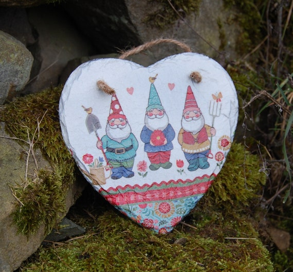 Garden Gnomes, Patchwork, Flowers, Slate Heart Hanger - Hanging Heart  - Garden Decor - Decorative Sculpture