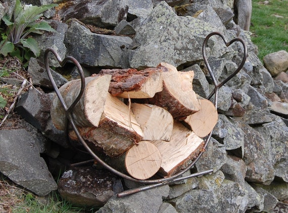 Heart Steel Log Rack - Fire Pit Storage - Firewood Storage - Garden - BBQ - Chimnea - Pizza Oven - Love