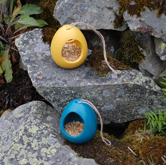 Mix and Match  Bird Feeder Gift Set Mustard Yellow & Teal Blue Set of 2 Ceramic Wild Bird Seed Feeders, choose your own, garden, gardening