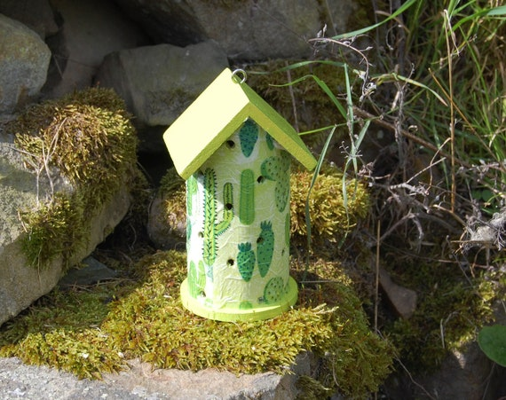 Lime Green Cacti, Cactus, Succulent,  Wooden Ladybird House Hotel - Ladybug - Insect House -  Gardening Gifts - Scottish Gifts