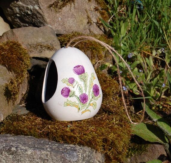 Scottish Thistle Two Tone White andPurple Ceramic Wild Bird Seed Feeder  - Gardening Gifts - Scottish Gifts - Birds - Apple - Balls