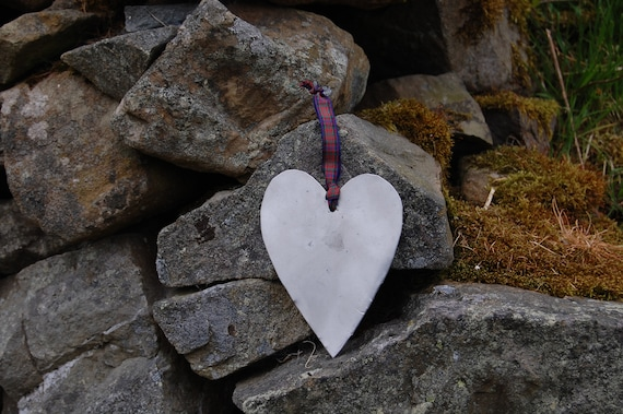 Decorative Upcycled Heart Hanger - Scottish Gifts - Upcycled Car - Tartan - Wedding - Recycled Gifts - Scotland