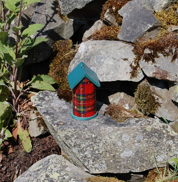 Red & Green Tartan Wooden Ladybird House Hotel - Ladybug - Insect House - Bug Hotel -  Gardening Gifts - Scottish Gifts