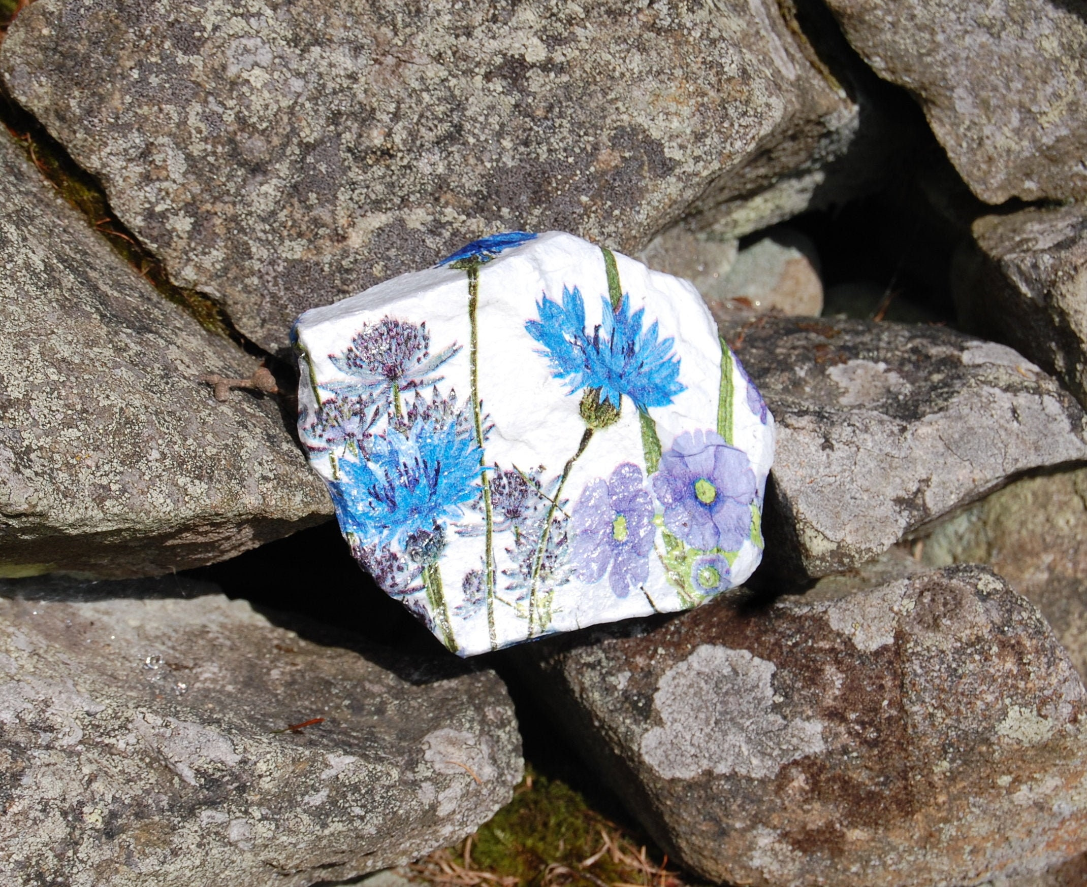 Meadow Flowers Blue And Purple Garden Art Garden Stone