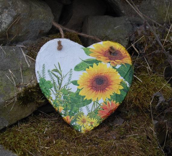 Sunflowers Wild Garden Meadow Slate Heart Hanger - Hanging Heart  - Garden Decor - Decorative Sculpture