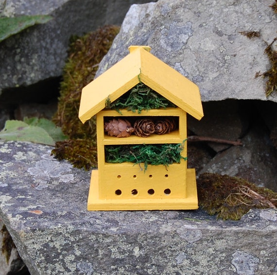 Mustard Yellow Wooden Insect House - Bug Hotel - -Beasts Vacation - Bee House - Gardening Gifts - Garden - Scottish Gifts - Scotland-