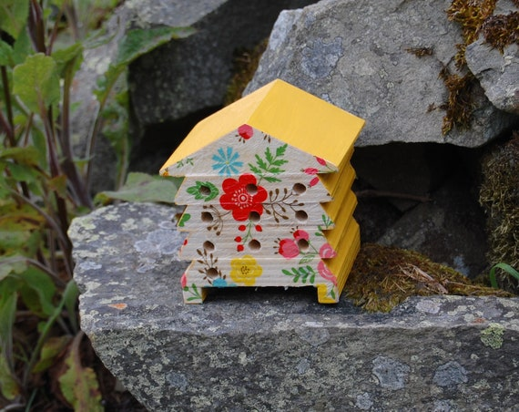 Bright Flowers Yellow - Wooden Bee Hive House - Insect House - Bug Hotel - Bee House - Gardening Gifts - Garden - Scottish Gifts