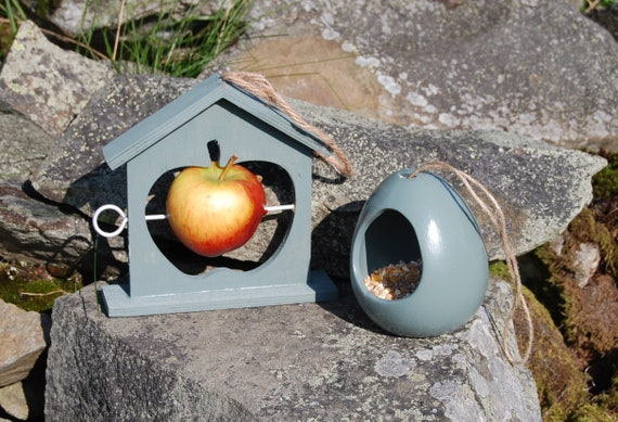 Mix and Match Bird Feeder Gift Set  Sea Green Bundle Ceramic Wild Bird Seed Feeder & Fruit Fat Ball Feeder, choose your own, garden,