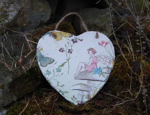 Butterfly Fairy Slate Heart Hanger - Hanging Heart  - Garden Decor - Decorative Sculpture
