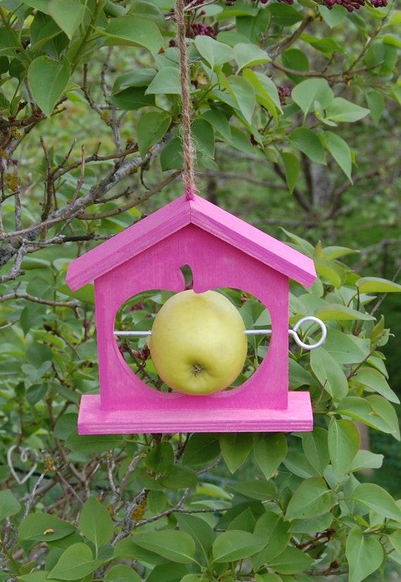 Hot Pink Wooden Bird Feeder - Gardening Gifts - Scottish Gifts - Birds - Apple - Balls - Scotland - Gardener - Nature - Garden