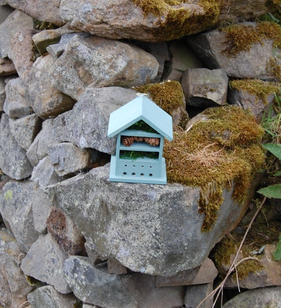 Sea Green  Wooden Insect House - Bug Hotel - -Beasts Vacation - Bee House - Gardening Gifts - Garden - Scottish Gifts - Scotland