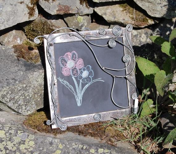 Tree of Life Steel Framed Chalkboard. Re-purposed Steel - chalk holder