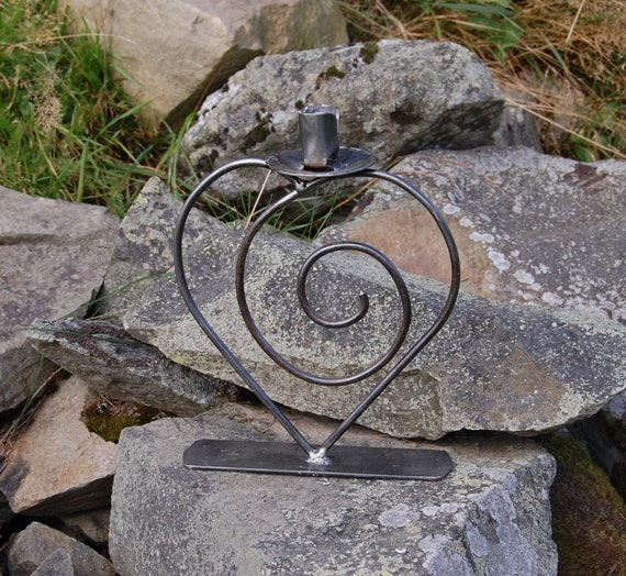 Spiral Heart Candlestick Candle Holder - wedding, engagement, anniversary  - re-purposed steel